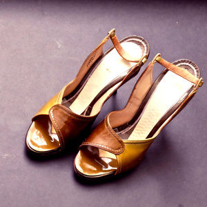 1950s Copper & Gold Patent Leather Peep Toe Heels